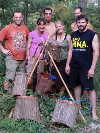 Bark basketry students.