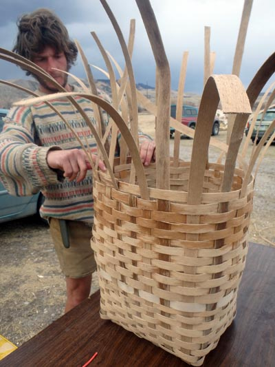 Making a pack basket.